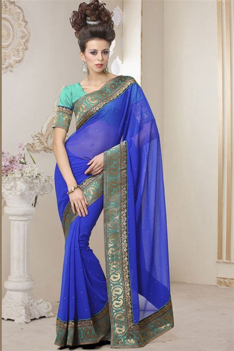 Astounding Blue Georgette Designer Saree with Designer Border
