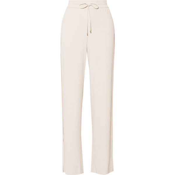 TheoryJolinta Stretch-crepe Wide-leg Pants (5.315 ARS) ❤ liked on Polyvore featuring pants, ivory, pleated wide leg pants, ivory pants, wide-leg pants, wide-leg trousers and pink pants