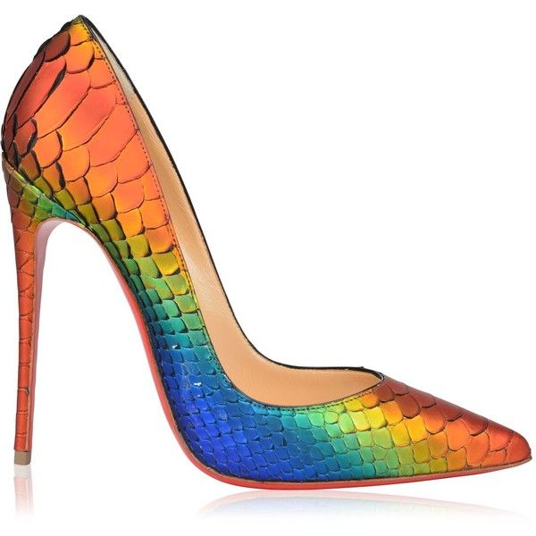 64c662371ddb Christian Louboutin So Kate Python Rainbow Heels ( 1