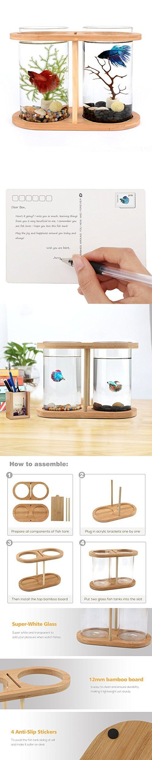 Segarty Cool Design Desktop Glass Fish Tank | Small Fish Bowls with Dual Glass Vase and Bamboo Shelf | 360 Degree View Fish Aquarium Kit For Betta Fish | Livingroom Home Office Decoration