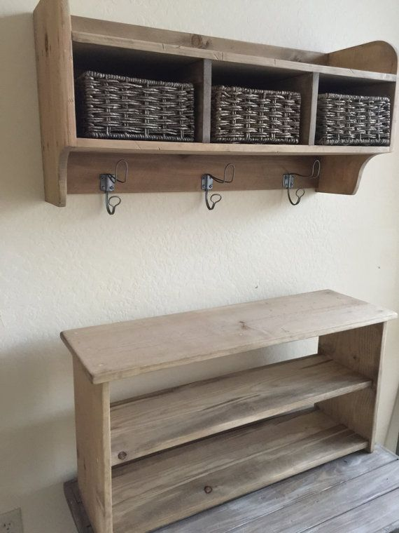 Rustic Hall Tree, Primitive Bench And Coat Rack, Entry Way Bench, Cubby  Storage Shelf, Storage Shelf With Matching Bench,Primitive Coat Rack |  Pinterest ...