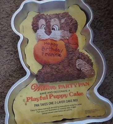 Vintage Wilton Cake Pan Playful Puppy with Insert 1978