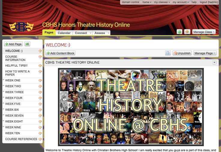 A hearty congratulations to Michael Williams of Christian Brothers High School in Tennessee! His CBHS Honors Theatre History Online Haiku Learning class garnered him a winning score from our judges. His excellent use of Haiku Assessments and Discussions combined with embedded full video lectures, easy to navigate page structure and a fantastic custom Theme, made this class stand out.