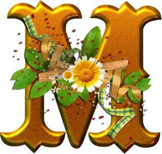 Alfabeto dorado con flores PNG | Fondos de pantalla y mucho más