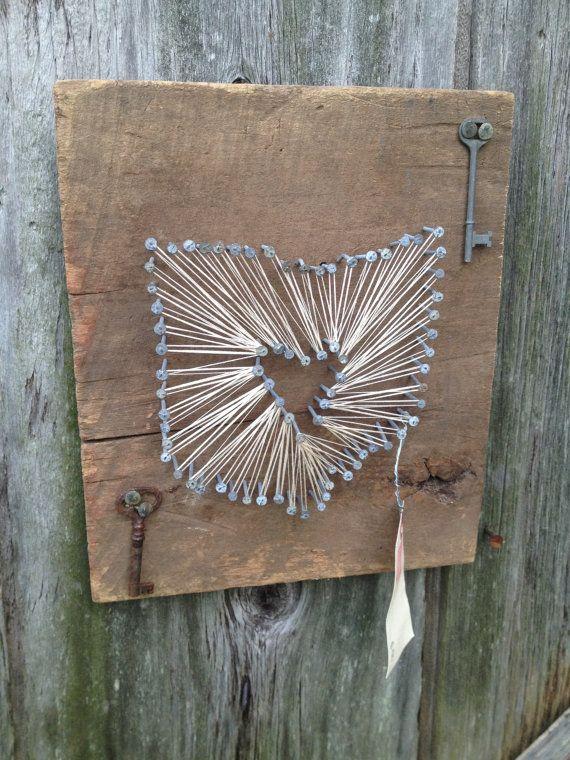 Heart of Ohio String Art on Reclaimed Barn Wood - Skeleton Keys - 38 Best Reclaimed Wood Images On Pinterest Wood, DIY And