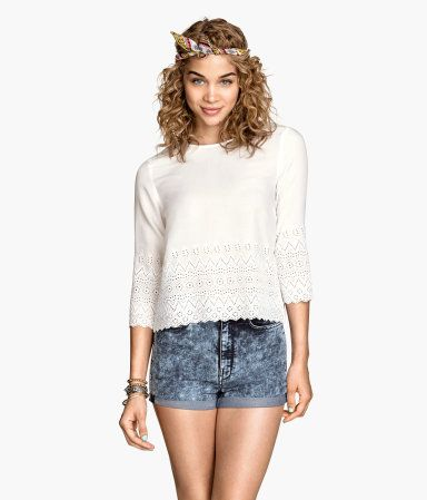 €20 witte bloes met kant, 3/4 mouw. Product Detail | H&M NL