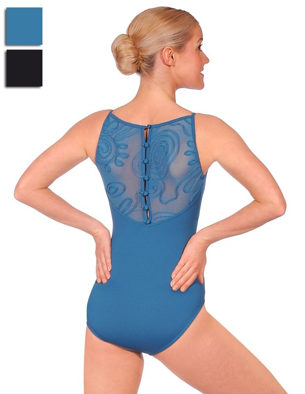 coiled mesh back on Bloch leotard