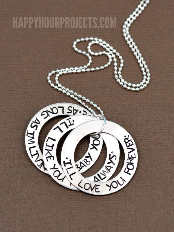I'll Love You Forever Hand Stamped Washer Necklace at www.happyhourprojects.com…
