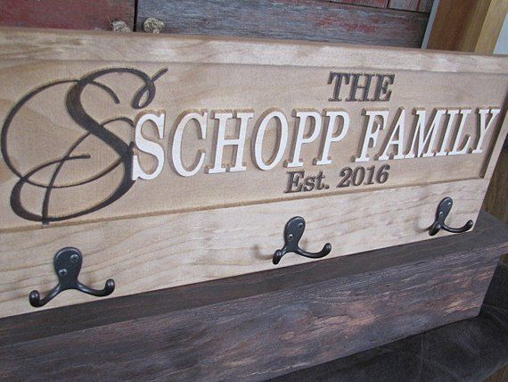 Custom Family Name Coat Rack Hook Sign With Carved Wood Last Name Established Or Anniversary Family Name Signs Custom Carved Wood Signs Custom Sign