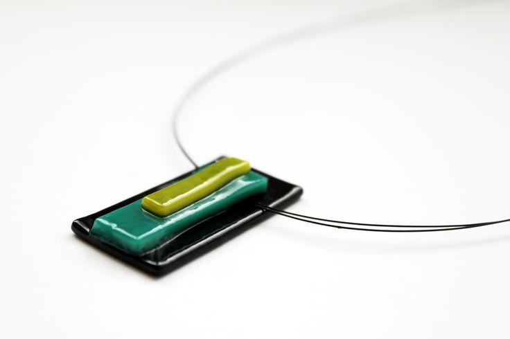 """Bauhaus"" fused glass medal by baska.design https://www.facebook.com/baska.ekszer/ #bauhaus #turquoise #kék #zöld #türkiz #blue #green #black #fekete"