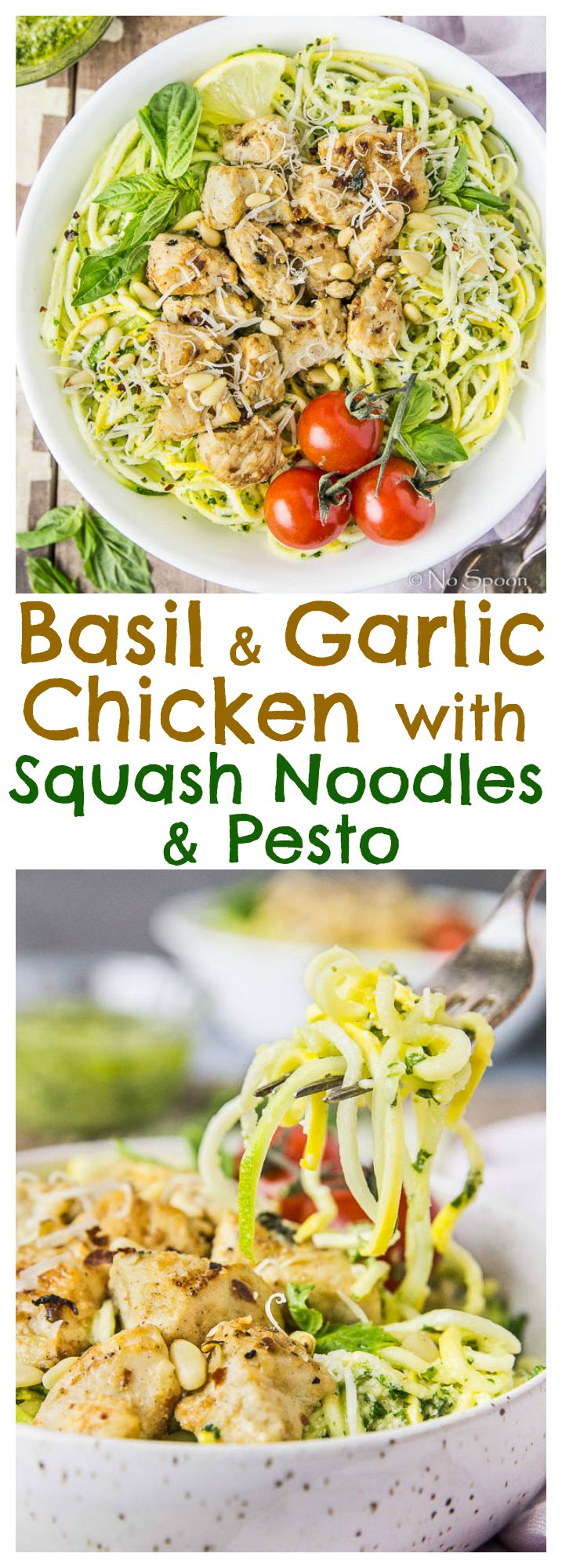 Basil Garlic Chicken Stir Fry with Squash Noodles & Pesto