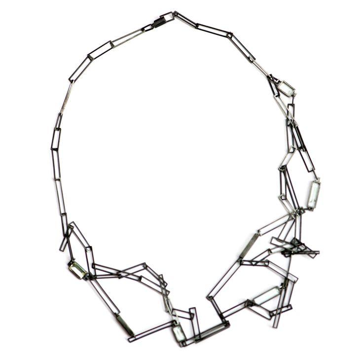 Silver & Aquamarine Chain Necklace, Chris Boland Designs