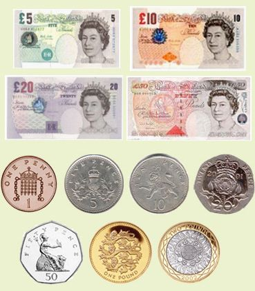 In Britain the currency is pounds (£) and pence (p). £1 = 100p. The singular of pence is 'penny'. The symbol for the penny is 'p', soan amount such as 50p is often pronounced 'fifty pee' rather than 'fifty pence'. We have both coins and banknotes. Current coins are: 1 penny, 2 pence, 5 pence,…