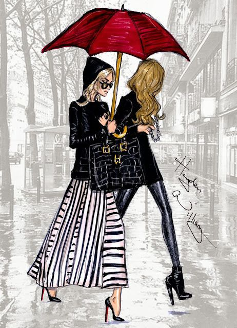 Hayden Williams Fashion Illustrations: 'The Olsen's in Paris' by Hayden Williams