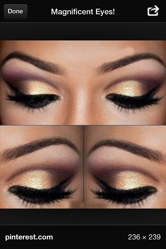 Gold & rose gold smokey eye with black winged liner ...