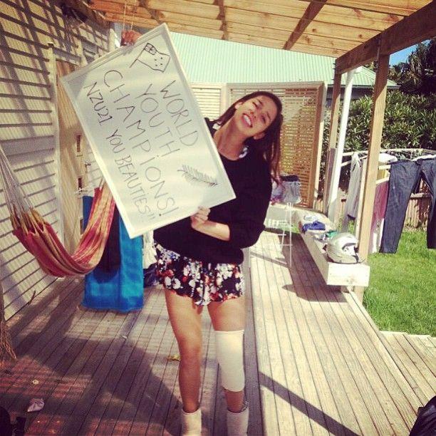 Kayla Cullen celebrating the NZU21 win! #WYNC2013! #nzu21 #gold #warriorwomen