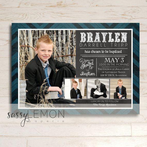 Braylen Baptism Invitation, LDS Baptism Announcement, Digital, Printable, Trendy