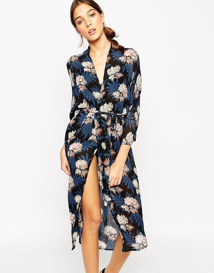 Ganni Georgette Wrap Kimono in Autumn Flower