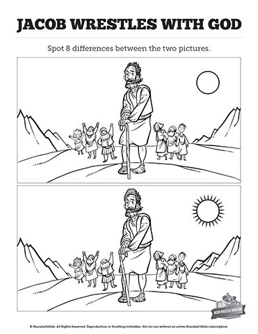 The Story Of Jacob Wrestling With God Kids Spot The Difference: Your kids will need to pay attention to detail if they are going to discover all changes in this story of Jacob wrestling with God kids spot the difference activity. These printable kids Bible activity pages are a perfect compliment to your Genesis 32 story of Jacob and God Sunday school lesson.