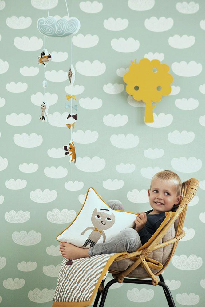 Wunderschöne Wolken Tapete von Ferm Living für das Kinderzimmer
