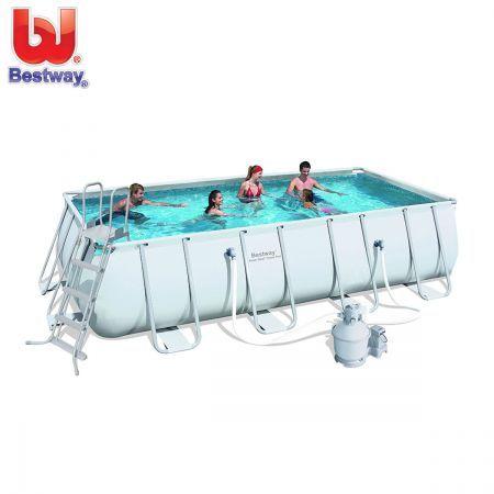 Bestway Above Ground Rectangular Swimming Pool 18ft w Steel Pro Frame & Sand Filter Pump