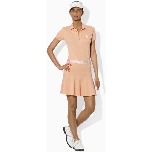 Ralph Lauren Golf Refined Stretch Mesh Short Sleeve Peach Dress ($139) ?  liked on