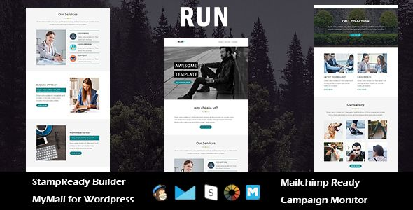 Run - Multipurpose Responsive Email Template with Stampready Builder Access . RUN is a Multipurpose responsive email template designed for Corporate, Office, Business and general