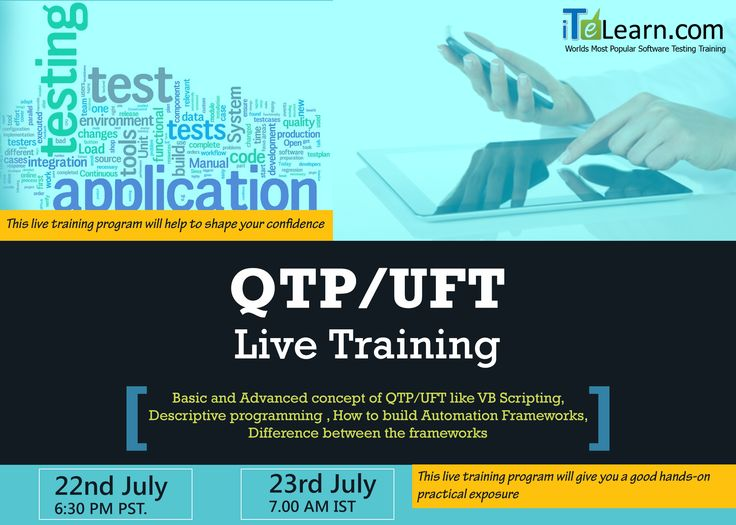 http://www.itelearn.com/events/qtpuft-live/ #QTP/UFT existent framework is one of the most blazing testing devices with legion job prerequisites. This Live project will help you to know how to build #Automation Frameworks and how to choose the right framework for your application.  Join us for the free #OrientationSession conducted on 22nd July from 6:30-7:30pm PST/23rd July 7:00-8:00am IST.