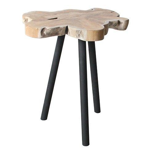 Materiaal: teak hout met metalen poten Maximaal draaggewicht: 5 KG  LET OP!! Dit is geen kruk, er kan niet op gezeten worden.