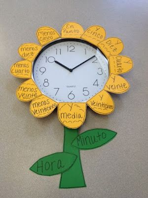 A clock in a Spanish classroom.