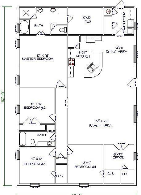 Barndominium Floor Plans 40x60 5 Bedroom 2 Bathroom Pole