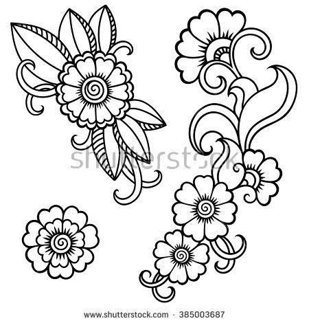 Henna tattoo flowers. Mehndi. - stock vector