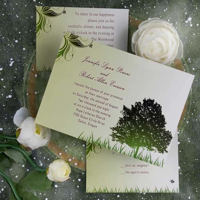 beautiful country rustic wedding invitations with green