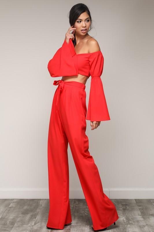 Bell Sleeve Crop Top Wide Leg Pant Set