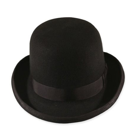 Our Tall Derby in Black is must-have headwear that tops off a gentlemanly outfit with timeless style. Perhaps the most popular hat attributed to the 19th century, the bowler-style derby was sported by the wealthy and working class alike.Made from 100% wool felt in black, our handsome derby is crafted with every attention to the era – including a close-fitting shape, rounded 4.75 to 5 in. crown, short curled 2 in. brim with a bound edge. Grosgrain ribbon and lined inside with a leather sweat…
