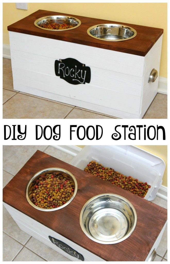Amazingly easy to make DIY dog food stations, they look great!