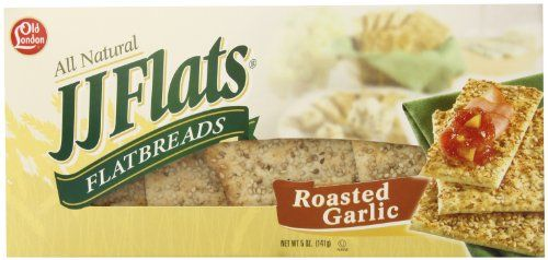 JJ Flats Flatbread, Roasted Garlic, 5 Ounce (Pack of 12). Choosing a healthy snack and making good choices everyday supports an overall healthy lifestyle. Kosher. Make old London part of your active, healthy lifestyle. Replace boring crackers and bulky breads with the flavorful and gratifying crunch of old London. All old London snacks have baked whole grain goodness to keep you full and satisfied. Publication date: 2013-09-18. Mouthwatering roasted garlic flavor is hard to resist.