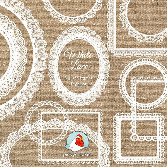 Spitzen-ClipArt – 24 weiße Spitzen Frames Deckchen – Deckchen Hochzeit Shabby Chic Etiketten Clipart Fotografie Overlay druckbare Instant Download 5013