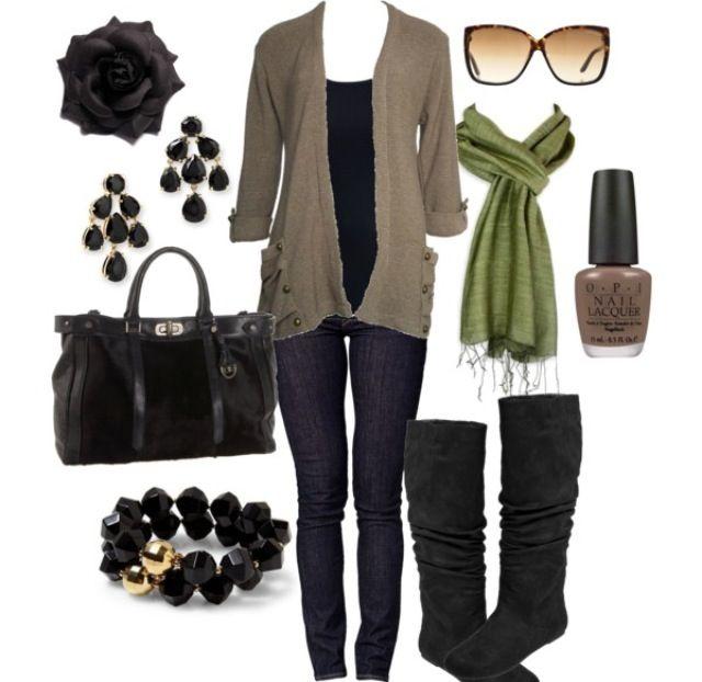 skinny jeans, black shirt, tan cardigan, green scarf, grey boots