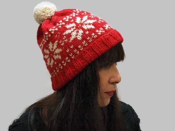 913456360c7 Hand-knitted two colors woman beanie hat in snowflake pattern with a  handmade pom-pom. YARN  65% Wool 35% Alpaca Knitted with no5 circular  knitting needles.