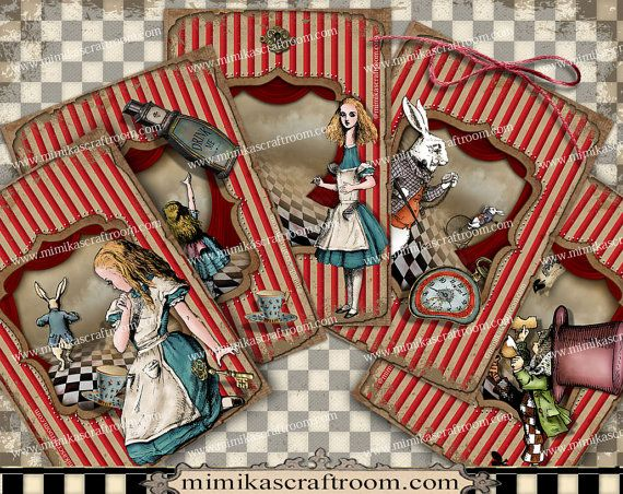 Digital Collage Sheet Alice in Wonderland ACEO by mimikascraftroom