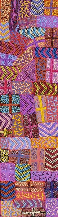 Adrianna Nangala Egan / Yarla Jukurrpa (Bush Potato Dreaming) – Cockatoo Creek 122 x 30 cm