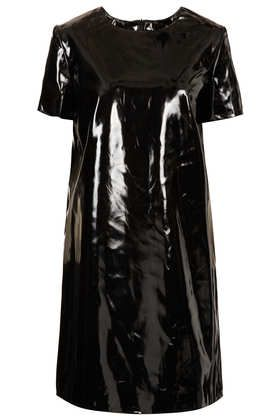 Palma Patent Dress - pvc black dress a-line