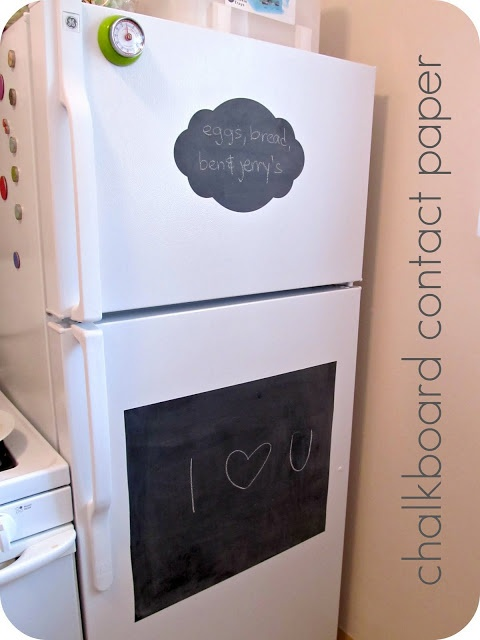 """A roll of chalkboard contact paper 18""""x6' is less than $8 on amazon (prime too).  It is said to be removable without hurting the fridge.  I like this idea, very much so."""