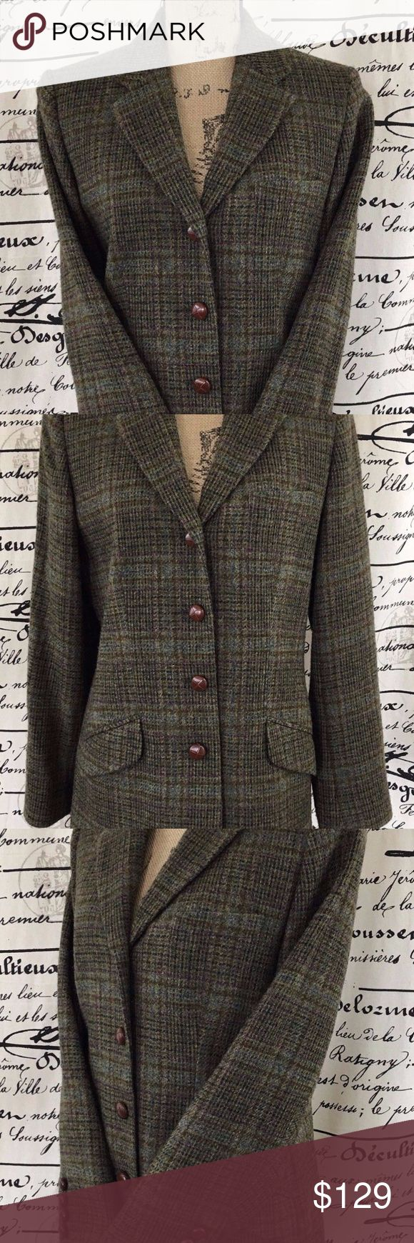 Vintage Orvis Wool Coat Plaid Single Vent Coat Item: Vintage Orvis Sporting Traditions Women's 100% Wool Coat Plaid Single Vent Coat With Shoulder Pads Style: Orvis Vintage Women's  Single Breasted 4 Button Single Vent Plaid Button Down Winter Fall Outdoor Coat Color: Green/Multi-color- See Pics Size: 8 Measurements: Underarm to Underarm 18 Inches , Overall Length 25.5 Inches from Bottom of Collar, Sleeve 23.5 Inches Measurements: Waist Flat 18 Inches, Shoulder Width 15.5 Inches Material…
