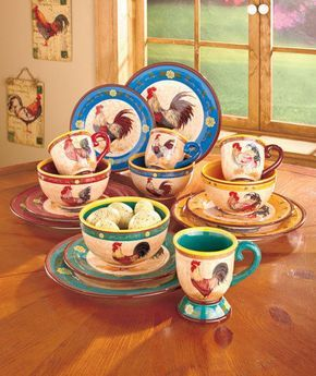 Rooster Coffee Mugs Cups Set 4 Country Kitchen Bowls Plates Chicken Hen New