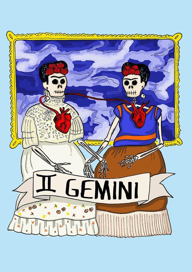 FRIDA KAHLO, Limited edition GEMINI zodiac sign, Original Illustration, Fine Art Print, anatomical heart, Day of the dead by CorazonBeats on Etsy https://www.etsy.com/listing/221178147/frida-kahlo-limited-edition-gemini
