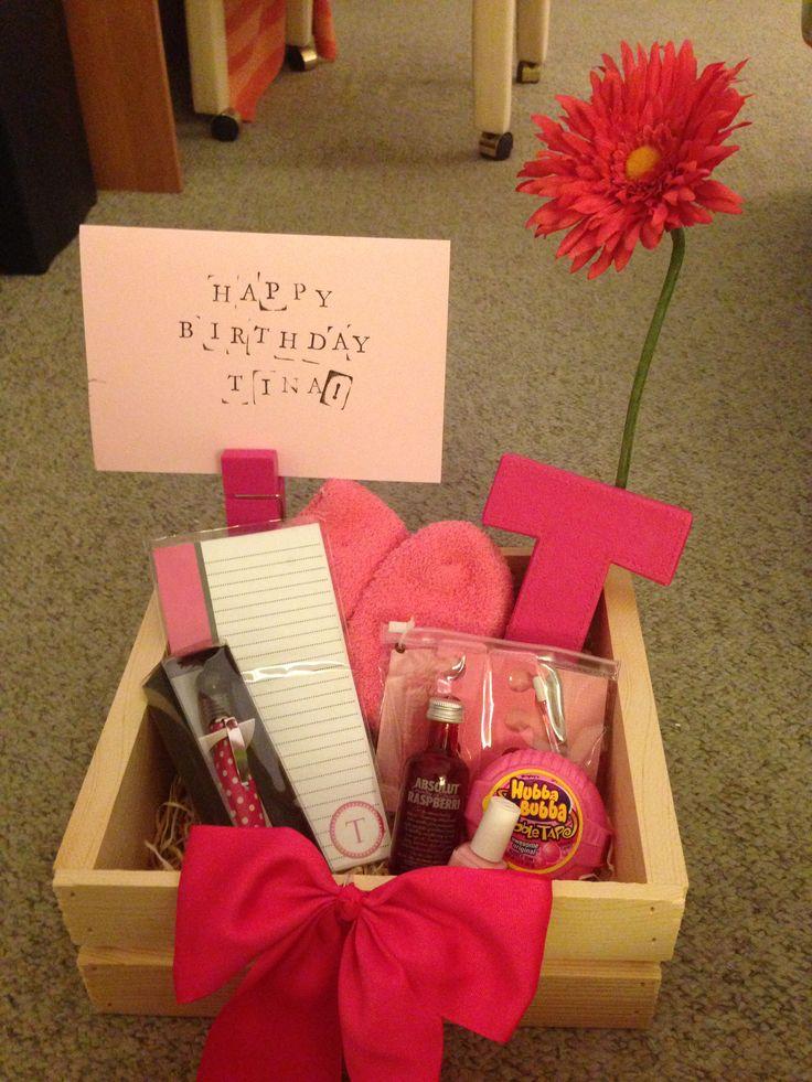 DIY pink birthday basquet #diy #gifts