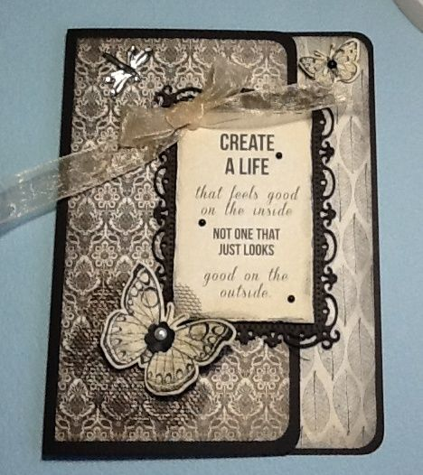 Kaisercraft Art of life papers, Spellbinders Timeless rectangles, Hero Arts antique butterflies stamp and die