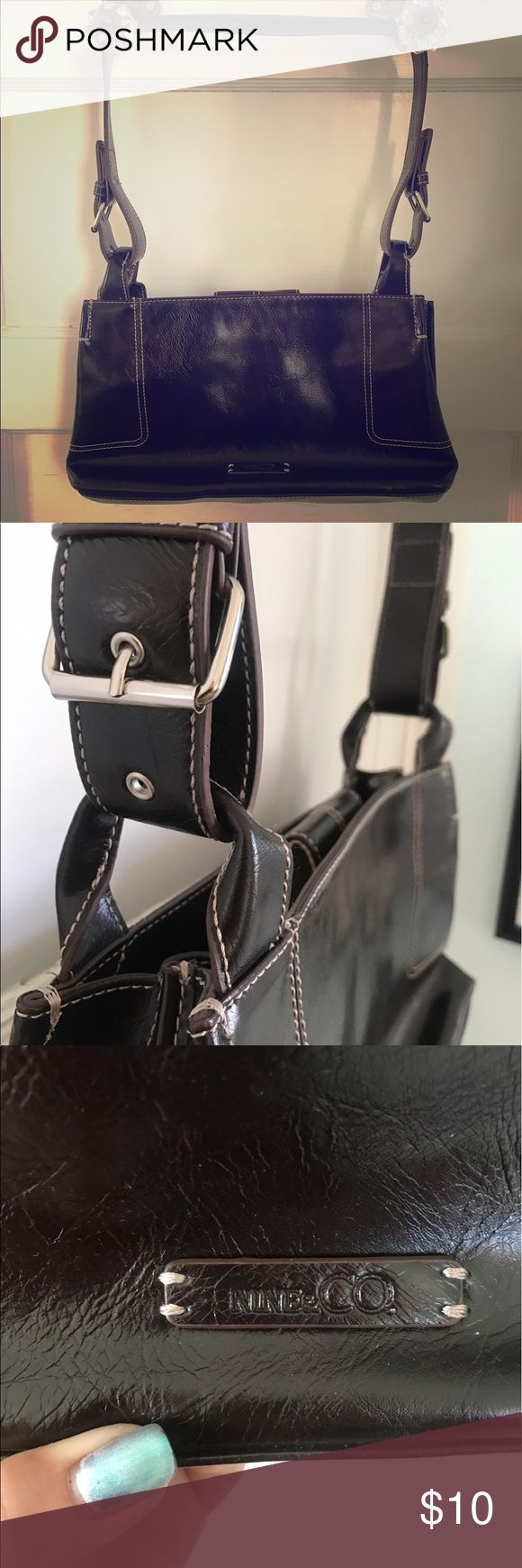 Nike & Co by Nine West Vegan Leather Purse Like new purse, super functional so many pockets for easy organization. Great purse. Dark brown. Small/medium size shoulder bag. Vegan leather. Nine West Bags Shoulder Bags